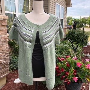 Angora Cardigan Sweater Short Sleeve XL